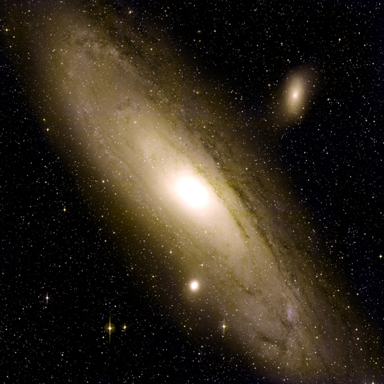 This false-color image of our glowing galactic neighbor, the Andromeda Galaxy, was created by layering 400 individual images captured by the PTF camera in February 2009. In one pointing, the PTF camera has a seven-square-degree field of view, equivalent to approximately 25 full moons. (Palomar Transient Factory/Peter Nugent, Berkeley Lab)