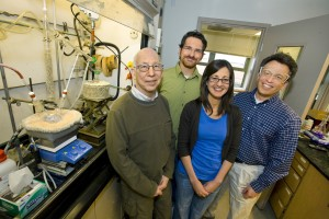 (From left) Robert Bergman, Peter Marsden, Elena Arceo and Jonathan Ellman have developed a selective, high-yield, one-pot technique based on a formic acid treatment that can remove oxygen from biomass.