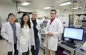 (From left) Timothy Ham, Joanna Chen, Rafael Rosengarten and Nathan Hillson have developed j5, the only DNA construction software that not only makes the process faster and more efficient but also identifies which construction strategy would be the most cost-effective. (Photo by Roy Kaltschmidt, Berkeley Lab)