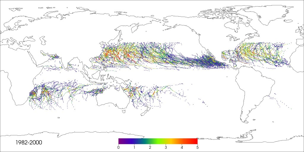 Category 1 through 5 hurricanes and cyclones detected in the CAM5 simulation.