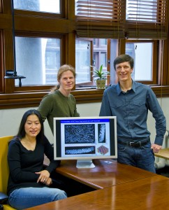 From left, Ting Xu, Kari Thorkelsson and Peter Ercius were part of a team that developed a relatively fast, easy and inexpensive technique for inducing nanorods to self-assemble into one-, two- and even three-dimensional macroscopic structures. (Photo by Roy Kaltschmidt, Berkeley Lab)