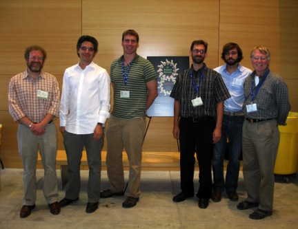 The principal investigators of this study together at the recent 8th Peptoid Summit at the Berkeley Lab Molecular Foundry.  From Left to Right: Ron Zuckermann, Kent Kirshenbaum, Glenn Butterfoss, Vincent Voelz, Richard Bonnaeu, Ken Dill.