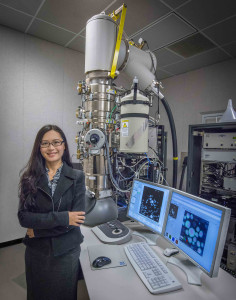 Haimei Zheng is a staff scientist in Berkeley Lab's Materials Sciences Division and a 2011 recipient of a DOE Office of Science Early Career Award. (Photo by Roy Kaltschmidt)