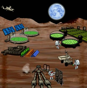 Microbial-based biomanufacturing could be transformative once explorers arrive at an extraterrestrial site. (Image courtesy of Royal Academy Interface)
