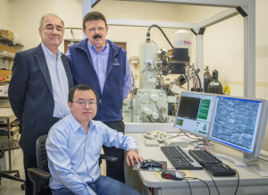 Tony Tomsia (left), Bai Hao (seated) and Rob Ritchie are unlocking the secrets behind the amazing structural and mechanical characteristics found in natural materials. (Photo by Roy Kaltschmidt)