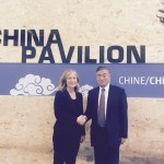 Lynn Price, head of Berkeley Lab's China Energy Group, and He Jiankun of Tsinghua Unviersity, at the MOU signing in Paris.