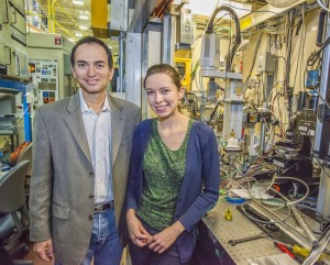Nitash Balsara and Katherine Harry at ALS beamline 8.3.2 where they shed important new light on the dendrite problem in lithium batteries. (Photo by Roy Kaltschmidt)