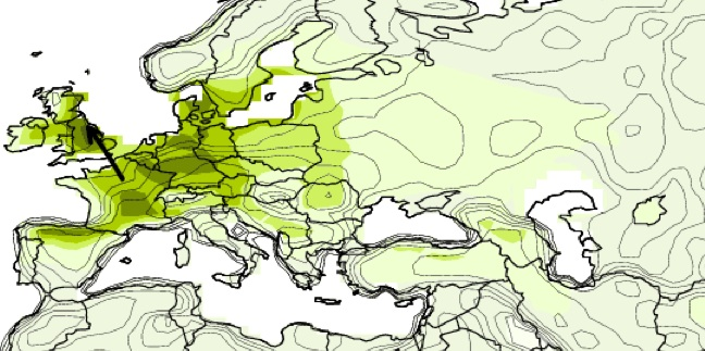 A climate model projection showing the movement of climates. By the end of the century, the climate currently found in France may have moved to northern England.