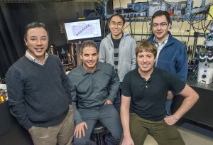 From left Xiang Zhang, Haim Suchowski, Zi Jing Wong, Kevin O'Brien and Alessandro Salandrino have created a nonlinear light-generating zero-index metamaterial that holds promise for future quantum networks and light sources. (Photo by Roy Kaltschmidt)