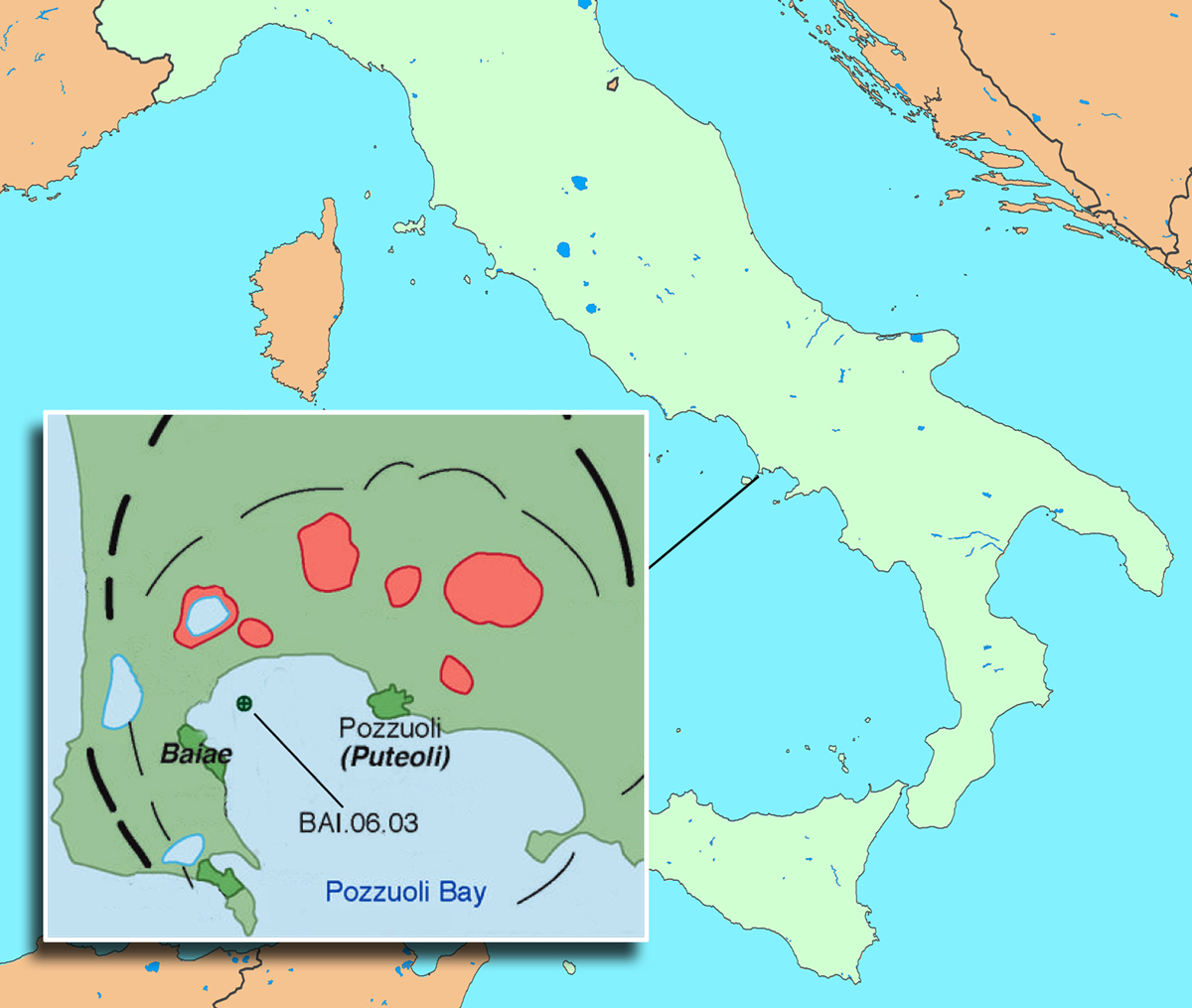 Pozzuoli Bay defines the northwestern region of the Bay of Naples. The concrete sample examined at the Advanced Light Source by Berkeley researchers, BAI.06.03, is from the ancient harbor of Baiae, one of many ancient underwater sites in the region. Black lines indicate caldera rims, and red areas are volcanic craters. (Click on image for best resolution.)
