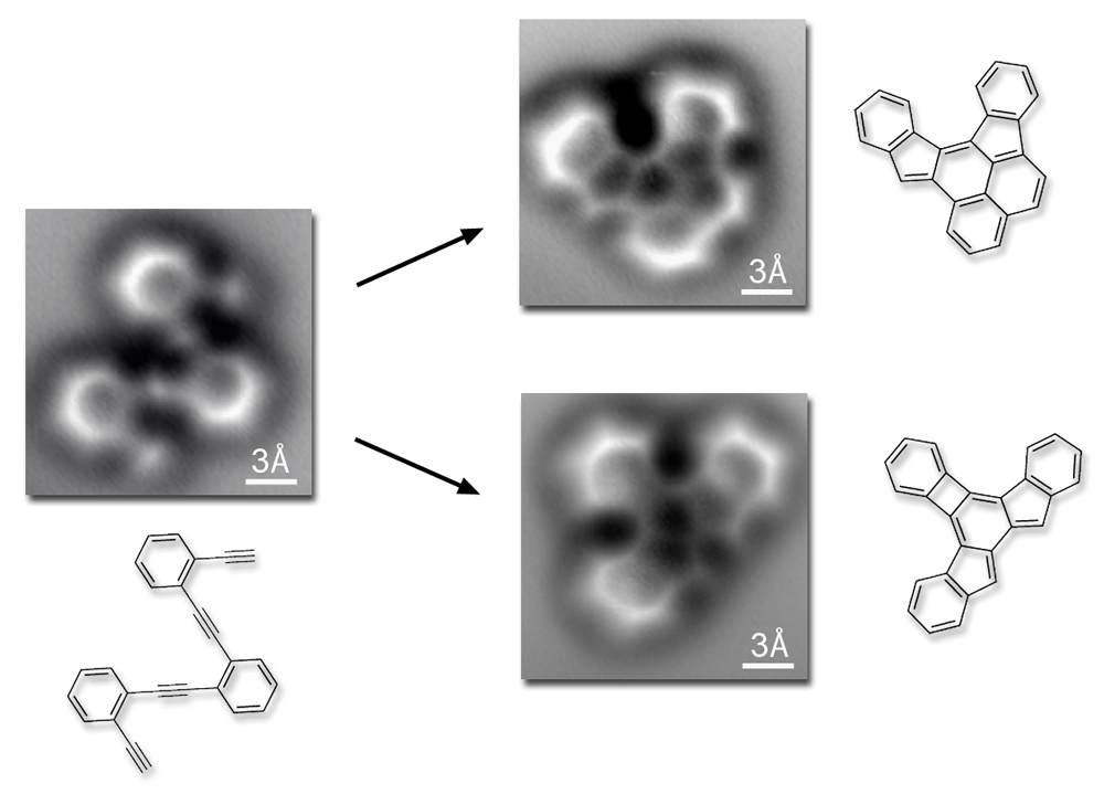 "The original ""reactant"" molecule, resting on a flat silver surface, is imaged both before and after the reaction, which occurs when the temperature exceeds 90 degrees Celsius. The two most common final products of the reaction are shown. The three-angstrom scale bars (an angstrom is a ten-billionth of a meter) show that both reactant and products are about a billionth of a meter across."